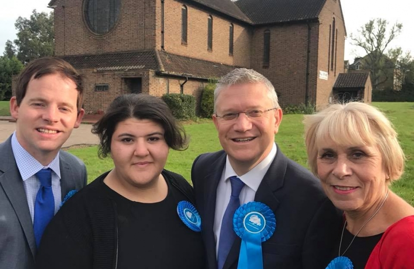 Hylands Conservative Action Team: Ciaran White, Maggie Themistocli, Andrew Rosindell MP, Christine Smith