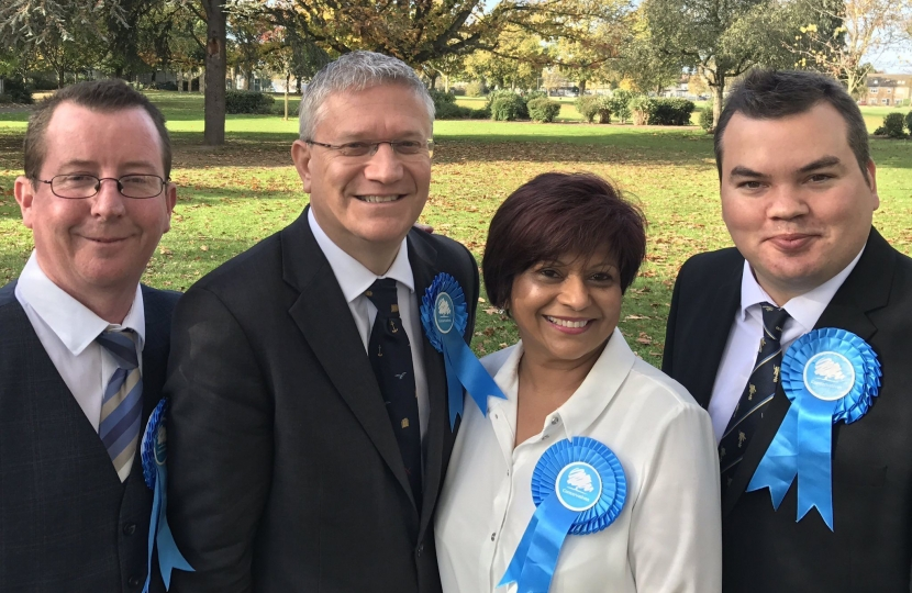 Brooklands Conservative Action Team: Tim Ryan, Andrew Rosindell MP, Cllr Viddy Persaud, Cllr Robert Benham