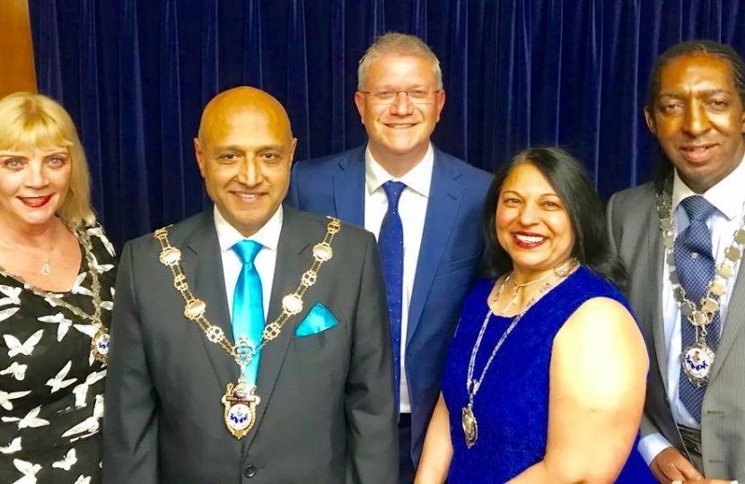 Cllr Vickery, Deputy Mayoress; Cllr Dilip Patel, Mayor; Andrew Rosindell, MP; Cllr Nisha Patel, Mayoree; Cllr Michael Deon Burton, Deputy Mayor